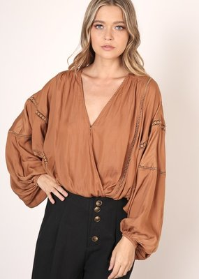 Bow N Arrow Caramel Balloon Sleeve Blouse