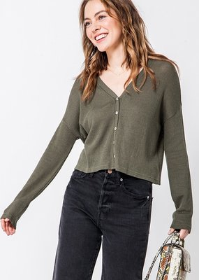 Bow N Arrow Olive Button Me Up Top