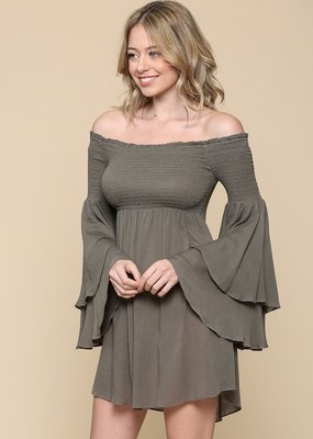 Bow N Arrow Olive Off The Shoulder Dress