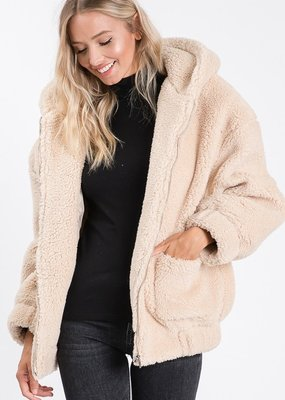 Bow N Arrow Taupe Sherpa Jacket