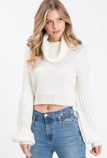 Bow N Arrow White Cowl Neck Sweater