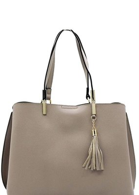 Bow N Arrow Taupe Vegan Leather Tote