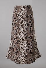 Bow N Arrow Brown Snake Print Midi Skirt