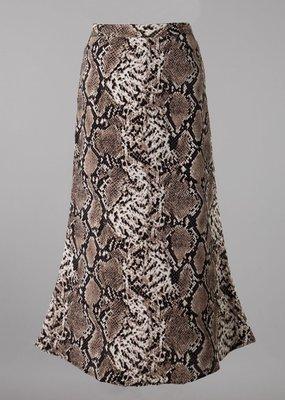 Bow N Arrow Brown Snake Print Midi Skirt