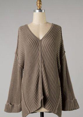 Bow N Arrow Mocha Knit V-neck Sweater