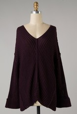 Bow N Arrow Plum Knit V-neck Sweater