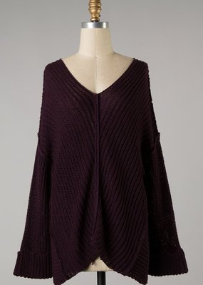 Bow N Arrow Plum Knit V-neck Sweater