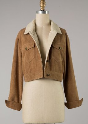 Bow N Arrow Camel Cropped Corduroy Jacket