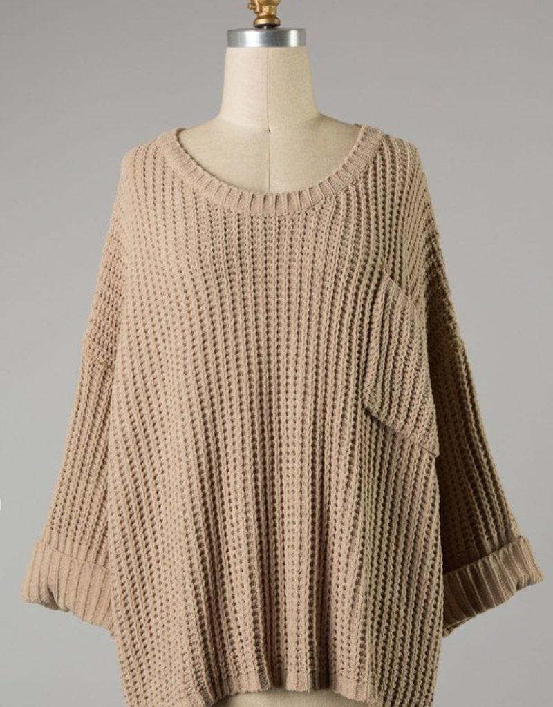 Bow N Arrow Taupe Cuffed Chunky Sweater