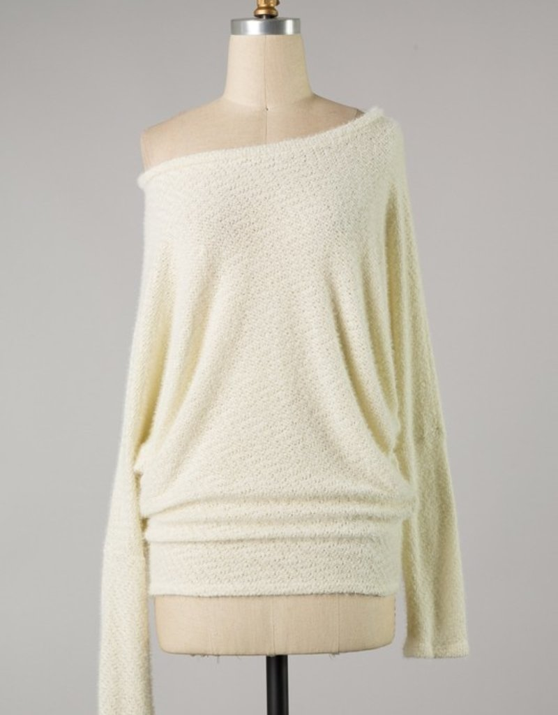 Bow N Arrow Ivory Fuzzy Knit Long Sleeve