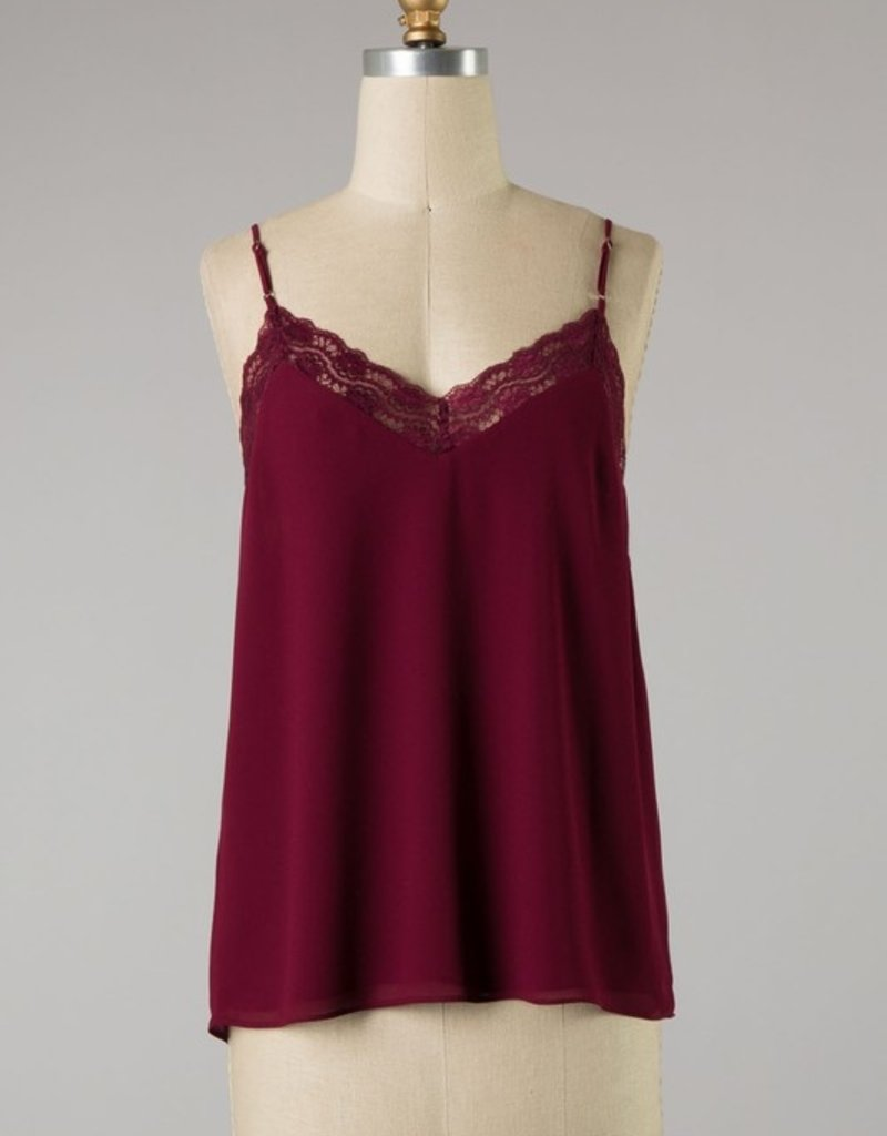 Bow N Arrow Mahogany Lace Trim Tank