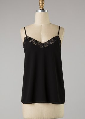 Bow N Arrow Black Lace Trim Tank