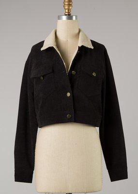 Bow N Arrow Black Corduroy Cropped Jacket
