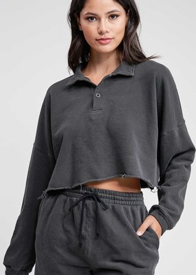 Bow N Arrow Charcoal French Terry Top