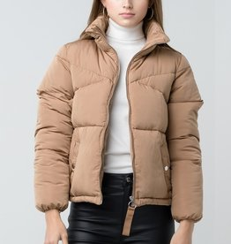 Bow N Arrow Camel Quilted Puffer Jacket