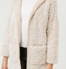 Bow N Arrow Tan Sherpa Cardigan