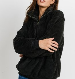 Bow N Arrow Black Sherpa Pullover Sweatshirt