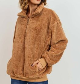 Bow N Arrow Tan Sherpa Pullover Sweatshirt
