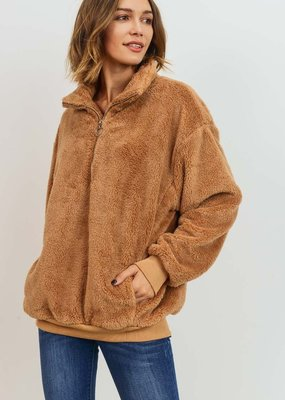 Bow N Arrow Tan Sherpa Pullover Sweatshirt