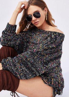 Bow N Arrow Black Multi Popcorn Sweater