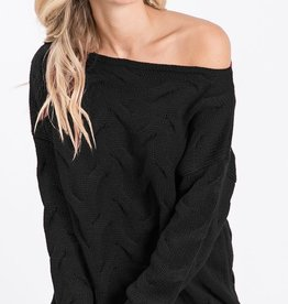 Bow N Arrow Black Textured Sweater