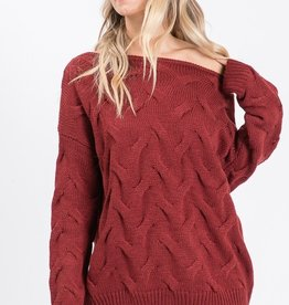 Bow N Arrow Burgundy Textured Sweater