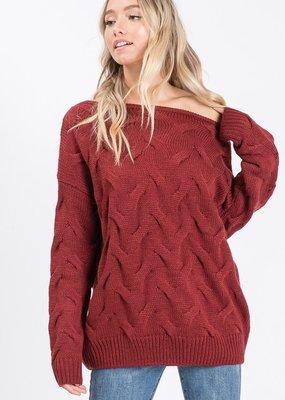 Bow N Arrow Burgundy Textured Sweater