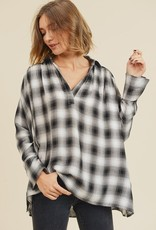 Bow N Arrow Black/White Oversize Flannel