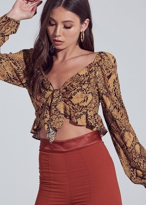 Bow N Arrow Brown Snake Tie Top