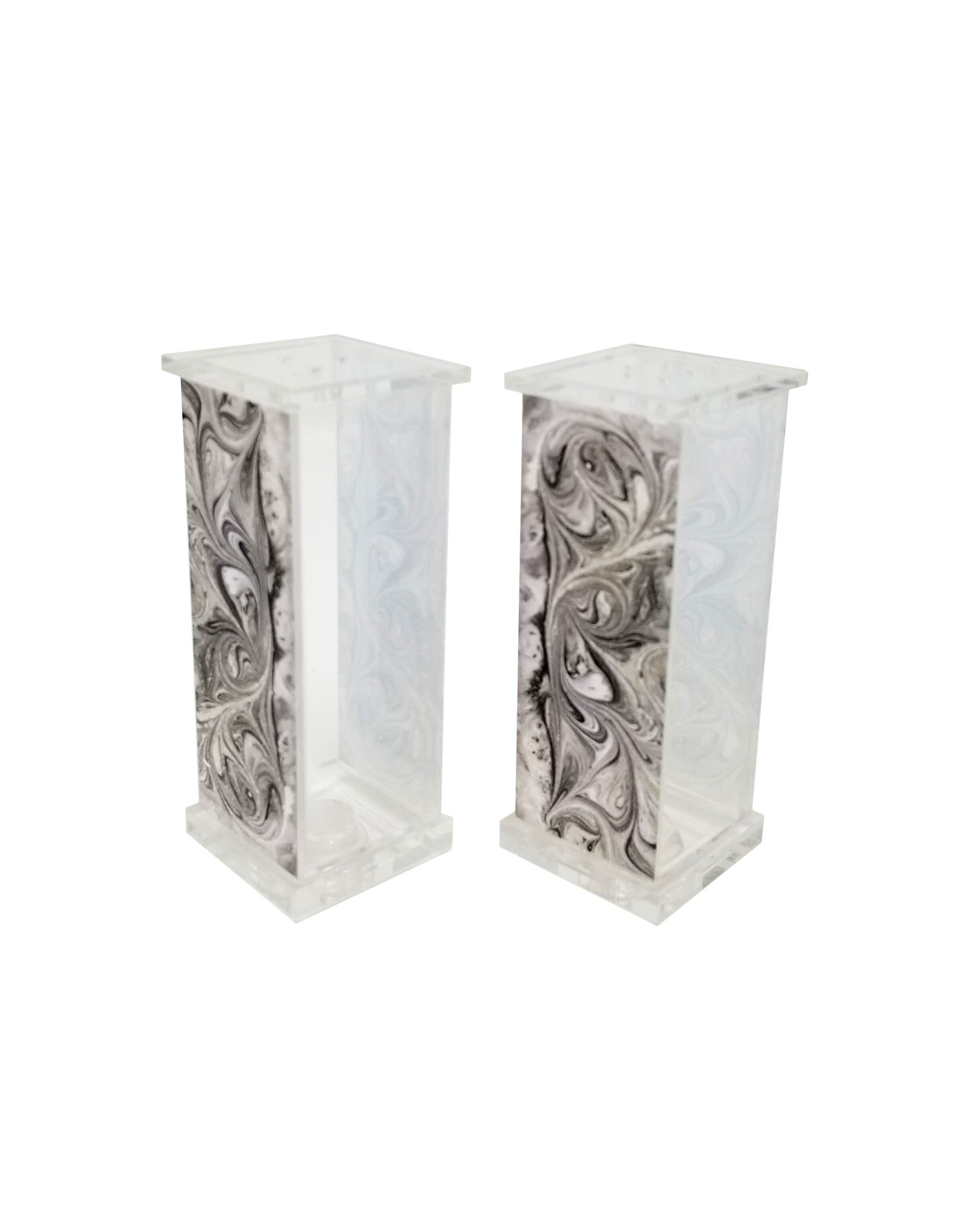 Presented Touch Acrylic Salt & Pepper Set Grey Marble