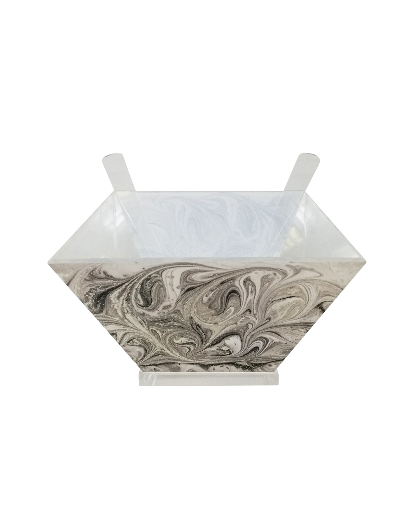Presented Touch Acrylic Salad Bowl with Servers Grey Marble