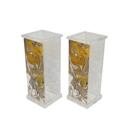 Presented Touch Acrylic Salt & Pepper Set Gold Marble