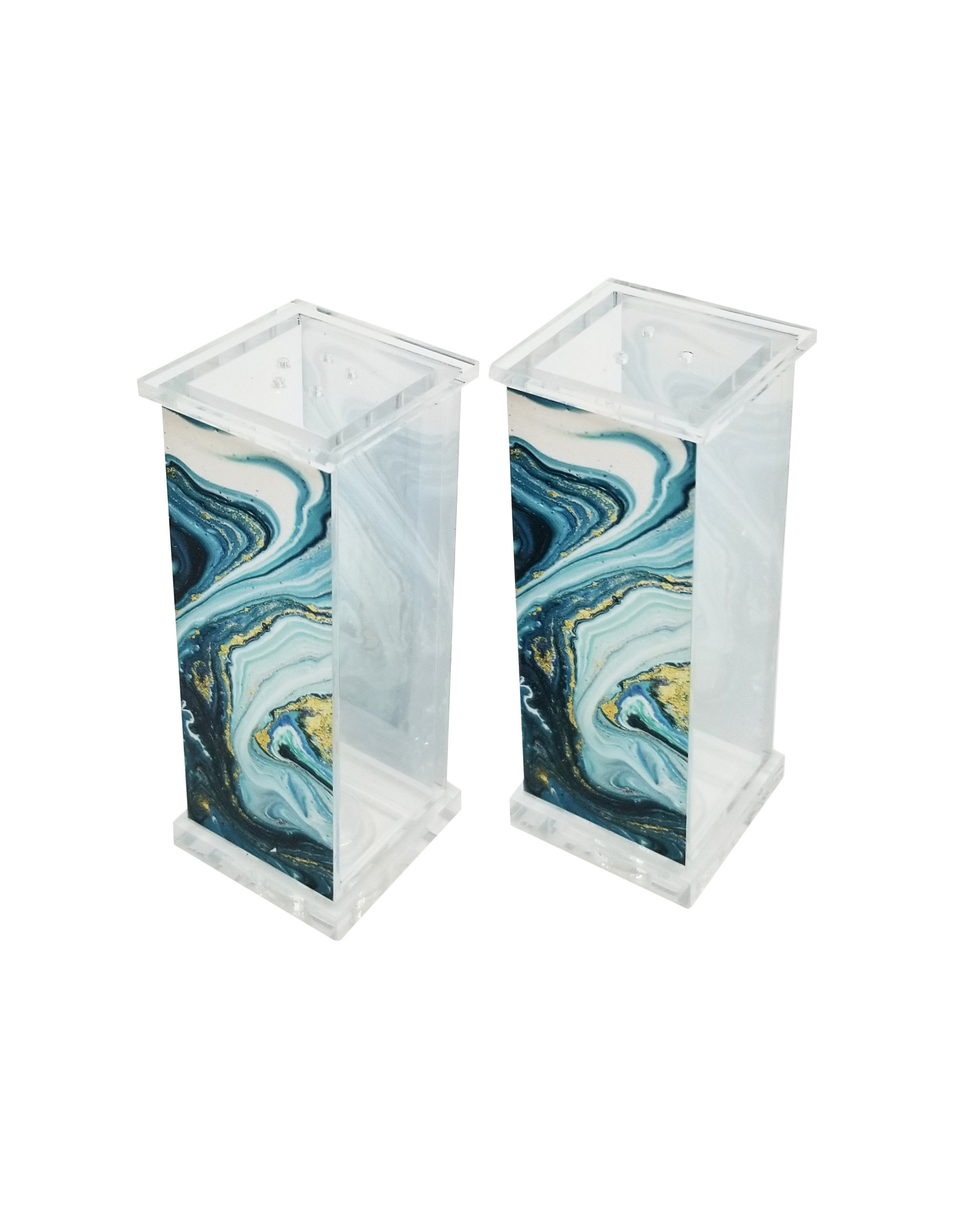Presented Touch Acrylic Salt & Pepper Set Blue Marble