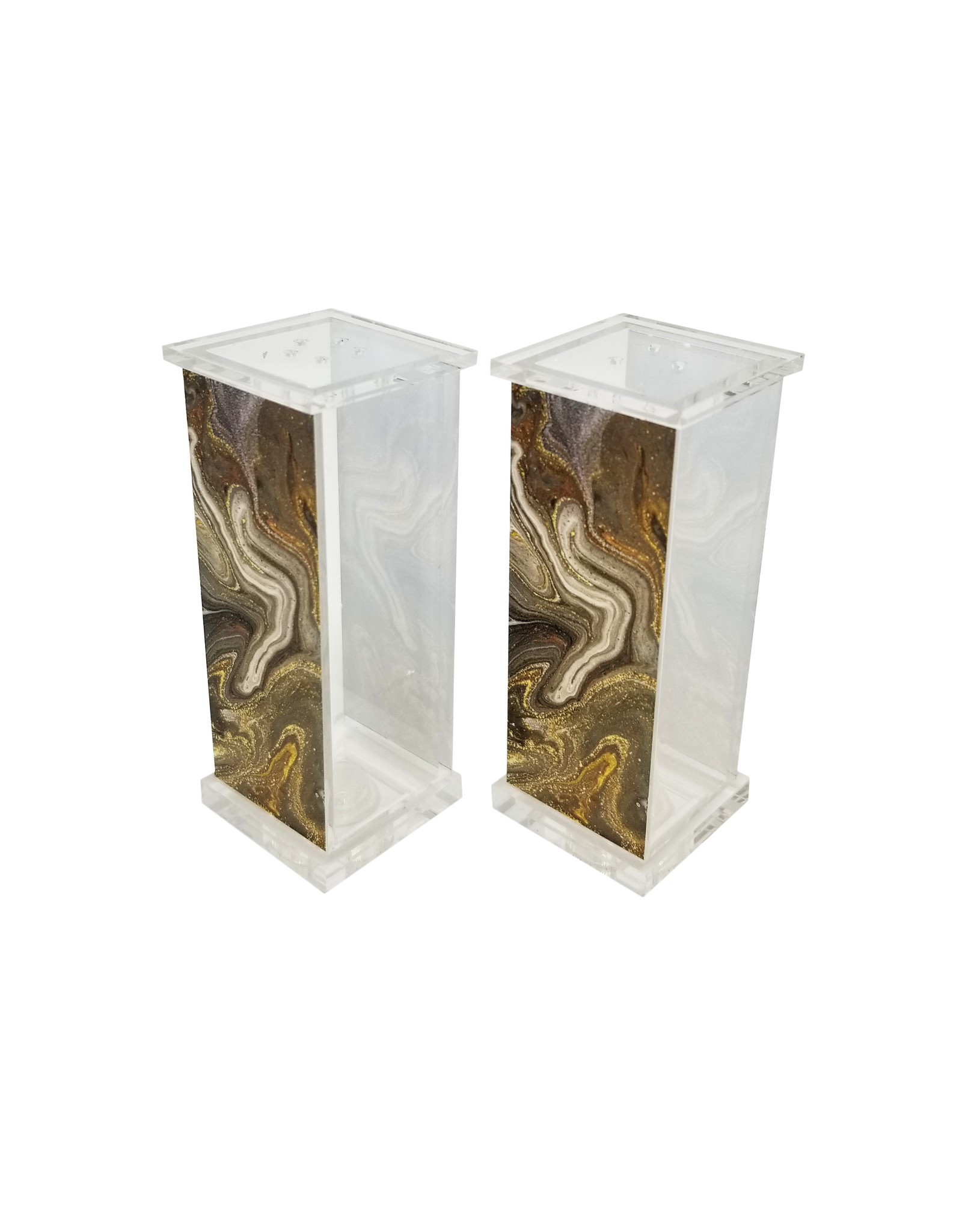 Presented Touch Acrylic Salt & Pepper Set Black Marble