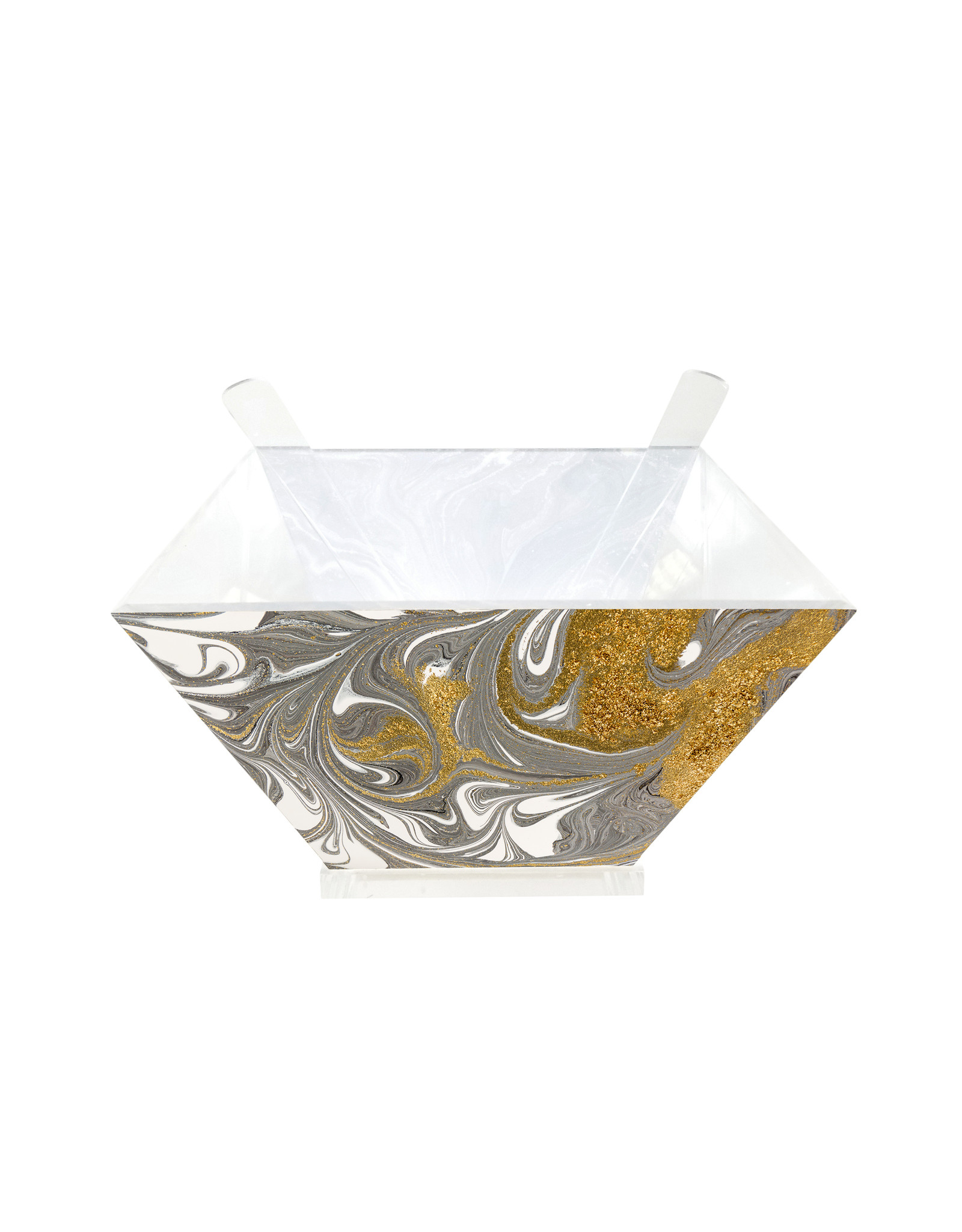 Presented Touch Acrylic Salad Bowl with Servers Gold Marble