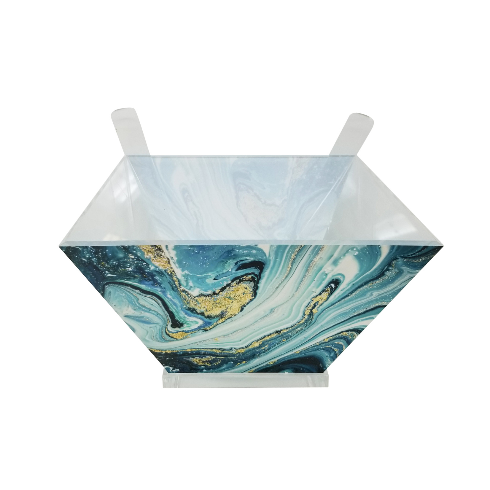 Presented Touch Acrylic Salad Bowl with Servers Blue Marble