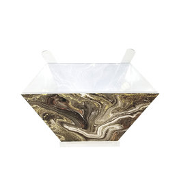 Presented Touch Acrylic Salad Bowl with Servers Black Marble