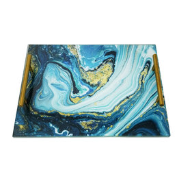 Presented Touch Acrylic Challah Board Blue Marble