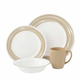 CORELLE SET ROUND, BRUSHED SAND Service For 4