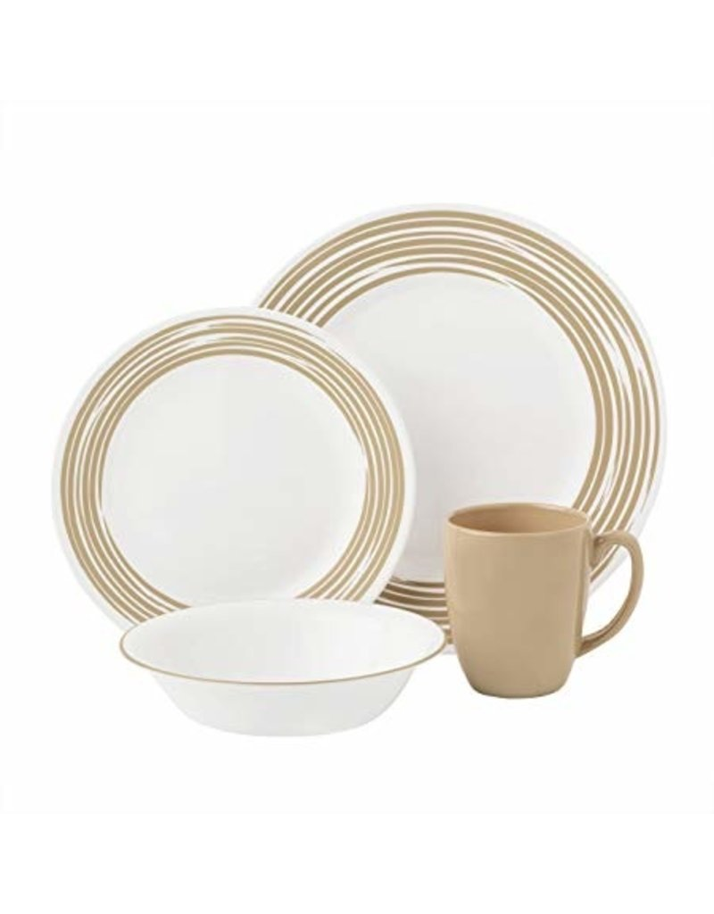 Corelle CORELLE SET ROUND, BRUSHED SAND Service For 4