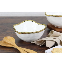 Pampa Bay Pampa Bay Beaded salad bowl with gold rim CER-1719-WG