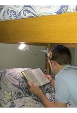 SHABBOSLITE Clip-on LED Lamp White - 2 inch Clamp fits on Headboard, Table, or Shelf for Reading in Bed, Studying at a Table, Lighting Up a Child's Room or a Hotel Room on Shabbos