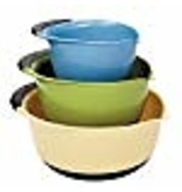 OXO OXO Good Grips 3-piece Mixing Bowl Set, White Bowls with Blue/Green/Brown Handles