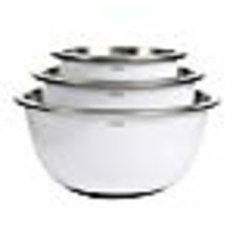 OXO OXO Good Grips 3-Piece Stainless-Steel Mixing Bowl Set, White