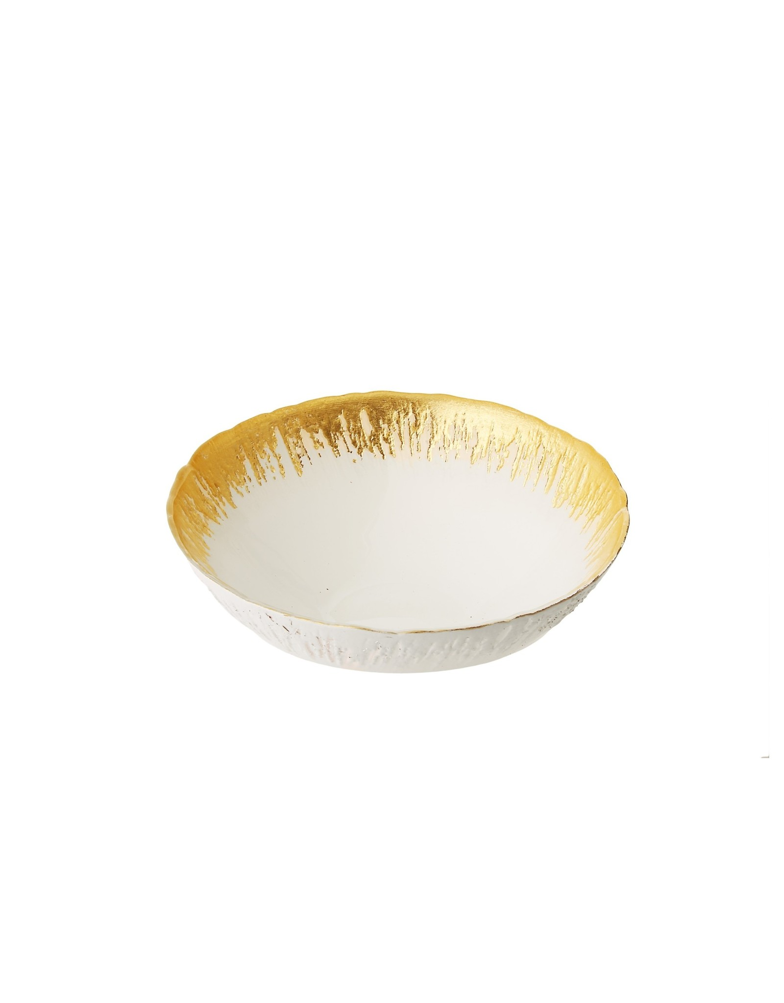 "Individual Opaque White Bowls with Flashy Gold Design-2.75""D"