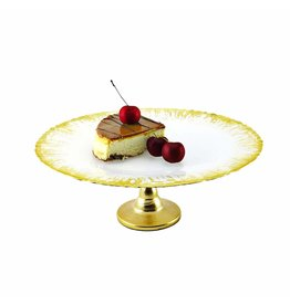 "CCF308 Milky Glass Cake Stand with Flashy Gold Design - 13""D"