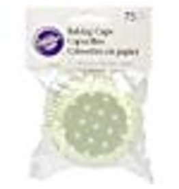 Wilton Wilton 415-0154 BAKECUPS GREEN DOTS 75CT, White