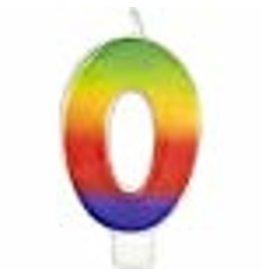 Wilton Wilton W2811-1039 Rainbow Candle, Numeral 0