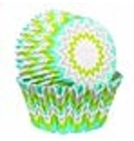 Wilton Wilton Standard Baking Cups, Lime Chevron, 75-Pack