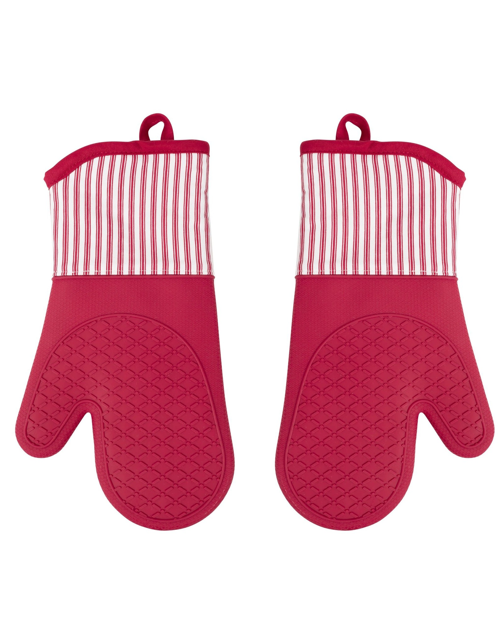"13"" x 7"" Silicone Printed Classic Stripe Oven Mitt - Red"